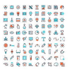 flat line web icons vector image
