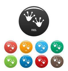 Frog step icons set color vector