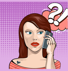 Girl talking on phone with a serious vector