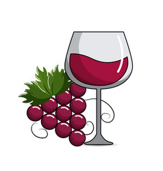 Glass of wine with grape icon vector