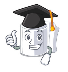 graduation character toilet paper rolled on wall vector image
