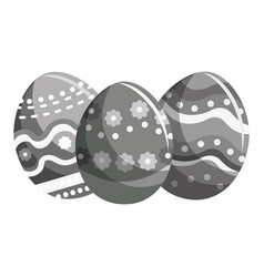 Grayscale easter eggs with nice decoration design vector