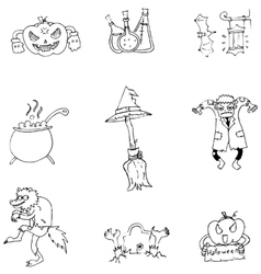 Halloween character and element in doodle vector image