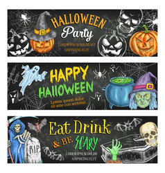 Halloween sketch banners for holiday party vector