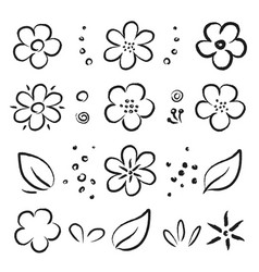 Hand drawn black summer flowers and leaves set vector