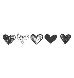 hand drawn calligraphy heart set isolated vector image