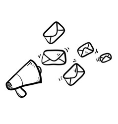 hand drawn doodle megaphone and envelope concept vector image