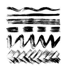 Hand drawn set with stripes lines waves vector