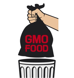 Hand holding black plastic trash bag with GMO food vector