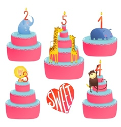 Happy birthday cakes collection with animals and vector