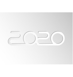 Happy new 2020 year white paper cutting style vector
