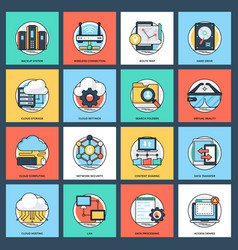 Internet and networking pack vector