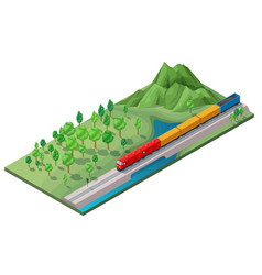 isometric railway logistic transportation concept vector image