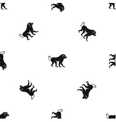 Japanese macaque pattern seamless black vector