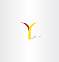Logo y letter y red yellow icon vector