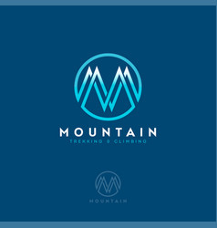 M logo mountain equipment climbing sport vector