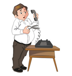 Man cutting telephone cord vector