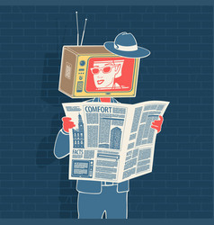 man with newspaper and head tv vector image