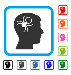 Mental parasite spider framed icon vector