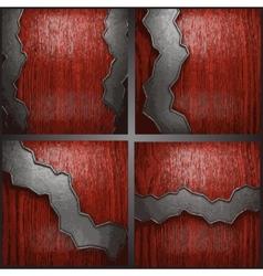 Metal on wood background set vector