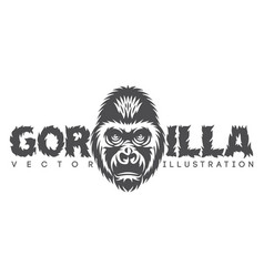 monochrome with gorilla head and vector image