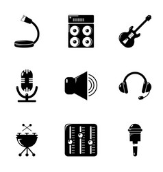 Music stuff icons set simple style vector