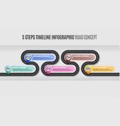 navigation map infographic 5 steps timeline road vector image