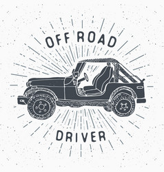 Offroad suv car vintage label hand drawn sketch vector