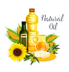 Organic oil poster with olive corn and sunflower vector