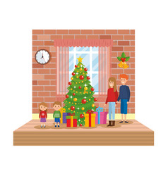 parents with kids in livingroom with christmas vector image