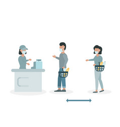 people keep their distance in supermarket vector image