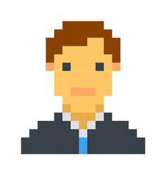 Pixel avatar male cartoon retro game style vector