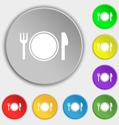 Plate icon sign Symbol on eight flat buttons vector