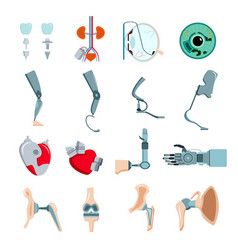 Prothesis implants flat set vector