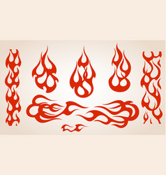 red flame elements set vector image