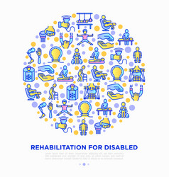 Rehabilitation for disabled concept in circle vector