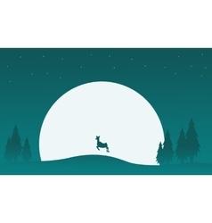 Reindeer with big moon scenery vector