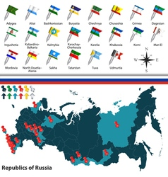 Republics of Russia with flags vector
