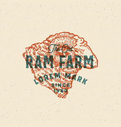 retro print effect ram farm abstract sign vector image