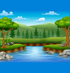 River cartoons in the middle beautiful natural sce vector