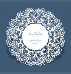 Round card with cutout lace border vector
