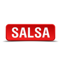 Salsa red 3d square button isolated on white vector