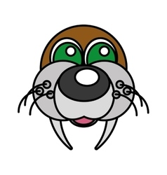 Sea lion funny face isolated icon vector