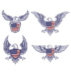 Set emblems with eagles on usa flag vector
