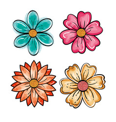 Set of flowers design vector