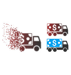 Shredded pixel halftone cash delivery icon vector