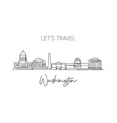 single continuous line drawing washington city vector image