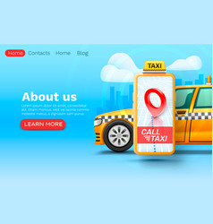 smartphone call taxi banner concept place vector image
