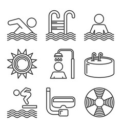 swimming pool icons set on white background line vector image