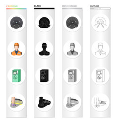 Tunnel rails lighting and other web icon in vector